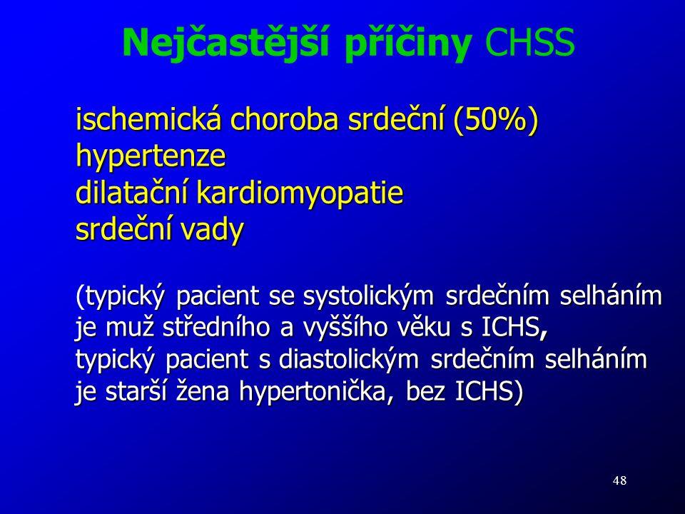 48 ischemická choroba srdeční (50%) hypertenze dilatační kardiomyopatie srdeční vady typický pacient se systolickým srdečním selháním je muž středního