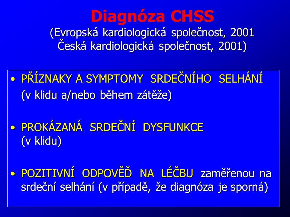 50 (Evropská kardiologická společnost, 2001 Česká kardiologická společnost, 2001) Diagnóza CHSS (Evropská kardiologická společnost, 2001 Česká kardiol