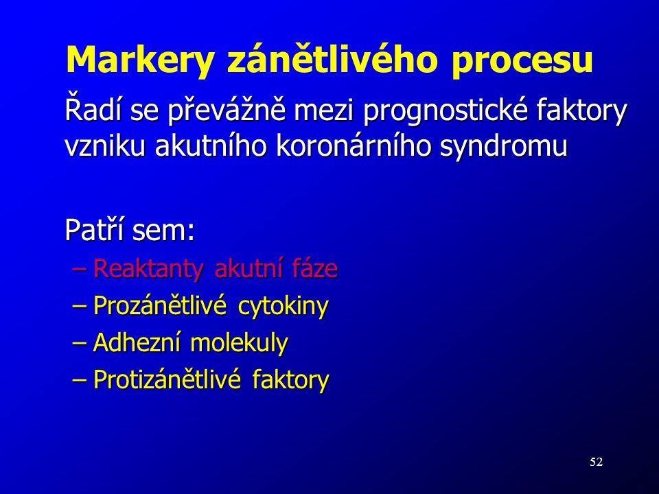 52 Markery zánětlivého procesu Řadí se převážně mezi prognostické faktory vzniku akutního koronárního syndromu Patří sem: –Reaktanty akutní fáze –Proz