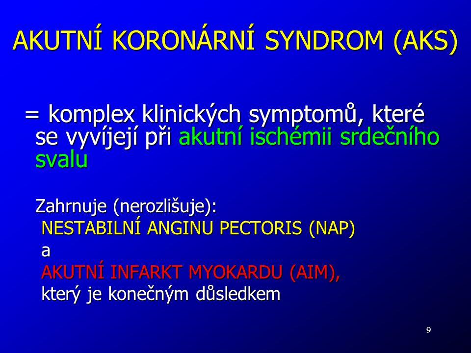 9 AKUTNÍ KORONÁRNÍ SYNDROM (AKS) = komplex klinických symptomů, které se vyvíjejí při akutní ischémii srdečního svalu Zahrnuje (nerozlišuje): NESTABIL
