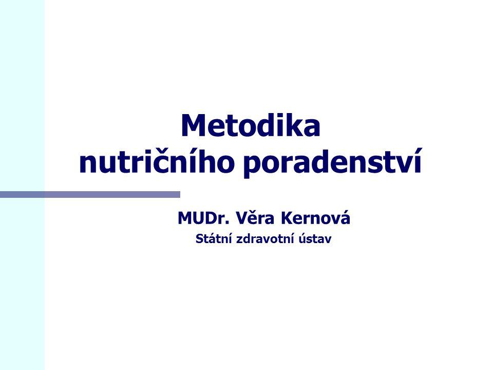 Metodika nutričního poradenství MUDr. Věra Kernová Státní zdravotní ústav