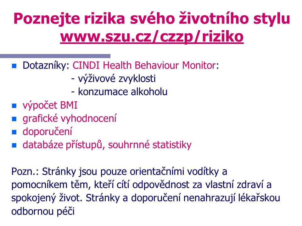 Poznejte rizika svého životního stylu www.szu.cz/czzp/riziko n n Dotazníky: CINDI Health Behaviour Monitor: - výživové zvyklosti - konzumace alkoholu