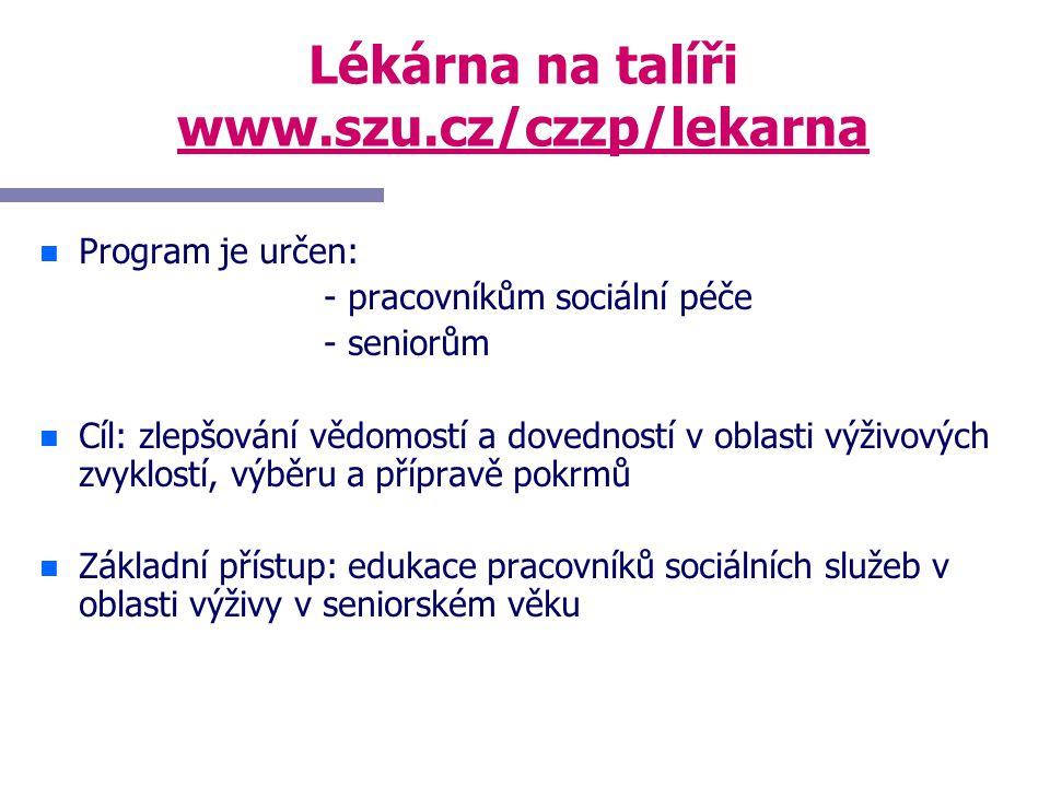 Lékárna na talíři www.szu.cz/czzp/lekarna n n Program je určen: - pracovníkům sociální péče - seniorům n n Cíl: zlepšování vědomostí a dovedností v ob
