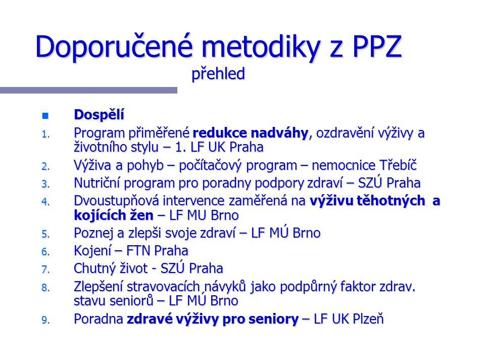 Doporučené metodiky z PPZ přehled n Dospělí 1. Program přiměřené redukce nadváhy, ozdravění výživy a životního stylu – 1. LF UK Praha 2. Výživa a pohy
