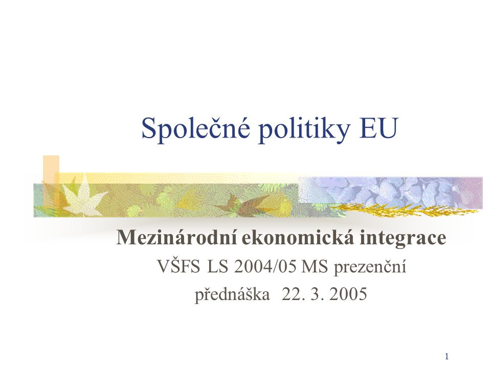 1 Společné politiky EU Mezinárodní ekonomická integrace VŠFS LS 2004/05 MS prezenční přednáška 22.
