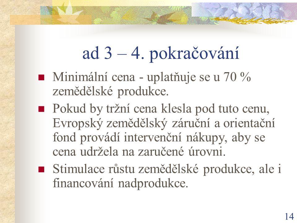 14 ad 3 – 4. pokračování Minimální cena - uplatňuje se u 70 % zemědělské produkce.
