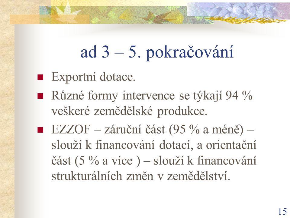 15 ad 3 – 5. pokračování Exportní dotace.