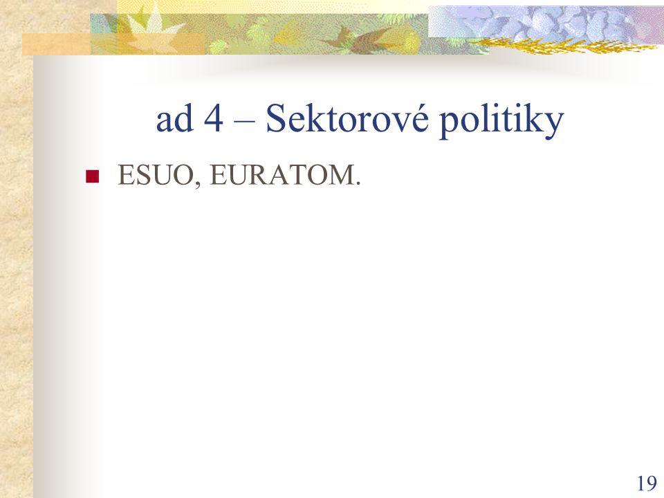 19 ad 4 – Sektorové politiky ESUO, EURATOM.