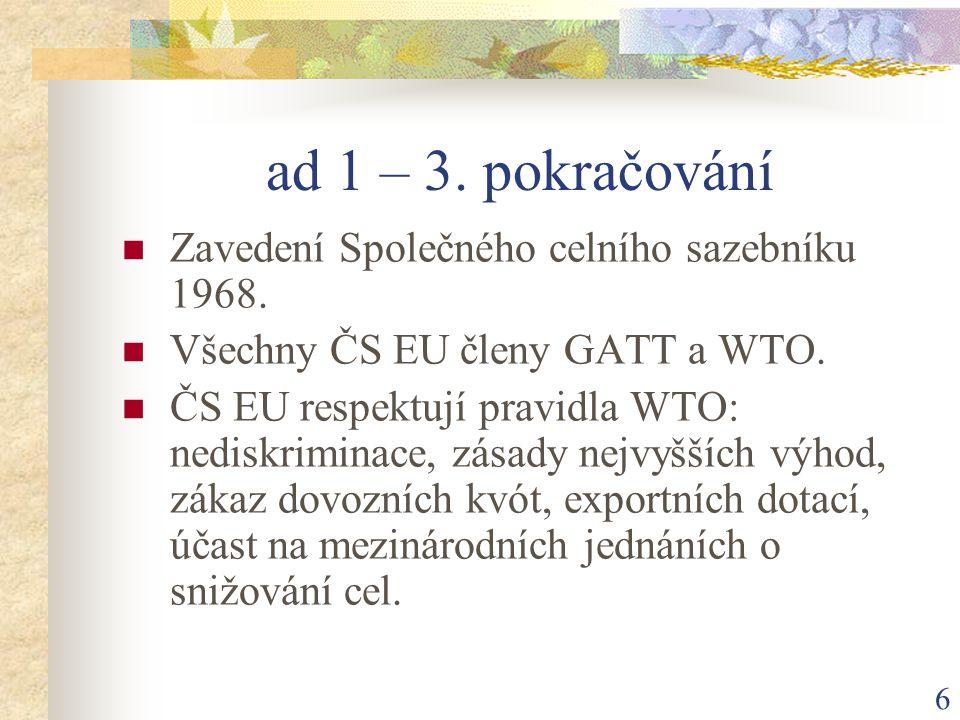 7 ad 1 – 4.pokračování Výjimky: zóny volného obchodu - průmyslové výrobky.