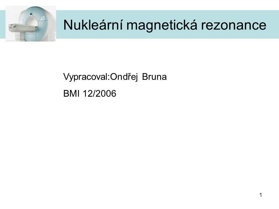1 Nukleární magnetická rezonance Vypracoval:Ondřej Bruna BMI 12/2006