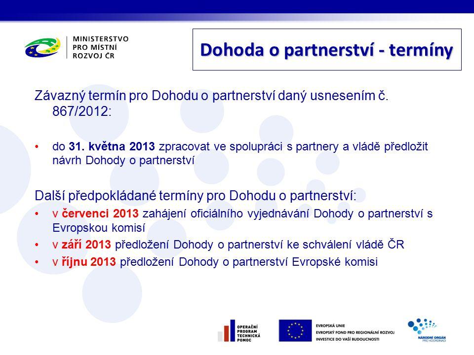 Závazný termín pro Dohodu o partnerství daný usnesením č.