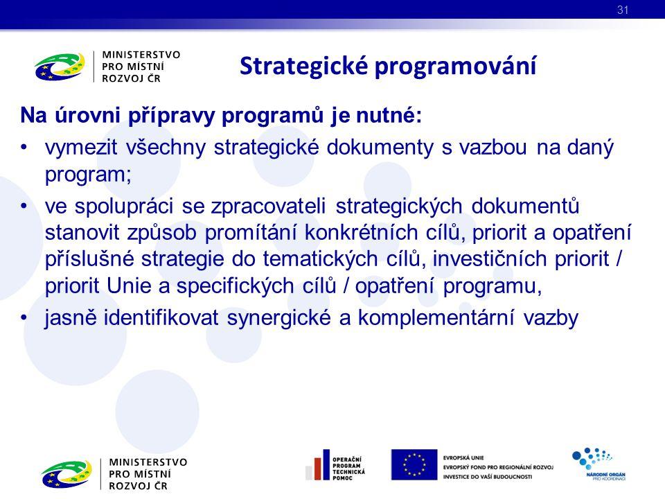 Na úrovni přípravy programů je nutné: vymezit všechny strategické dokumenty s vazbou na daný program; ve spolupráci se zpracovateli strategických dokumentů stanovit způsob promítání konkrétních cílů, priorit a opatření příslušné strategie do tematických cílů, investičních priorit / priorit Unie a specifických cílů / opatření programu, jasně identifikovat synergické a komplementární vazby Strategické programování 31