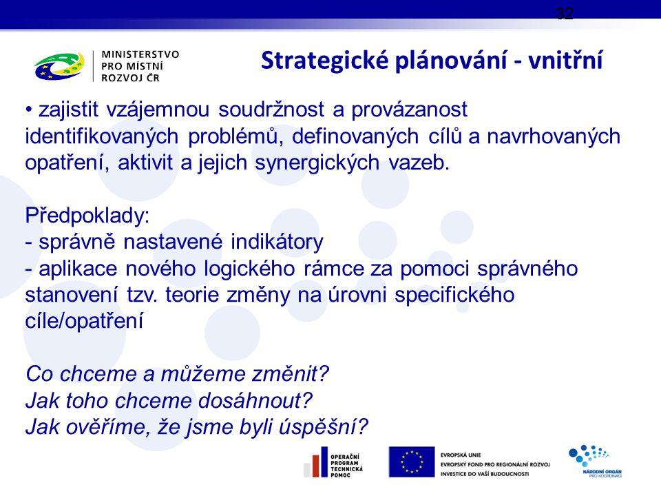 Strategické plánování - vnitřní 32 zajistit vzájemnou soudržnost a provázanost identifikovaných problémů, definovaných cílů a navrhovaných opatření, aktivit a jejich synergických vazeb.