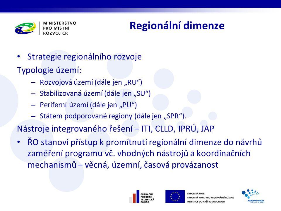 """Regionální dimenze Strategie regionálního rozvoje Typologie území: – Rozvojová území (dále jen """"RU ) – Stabilizovaná území (dále jen """"SU ) – Periferní území (dále jen """"PU ) – Státem podporované regiony (dále jen """"SPR )."""