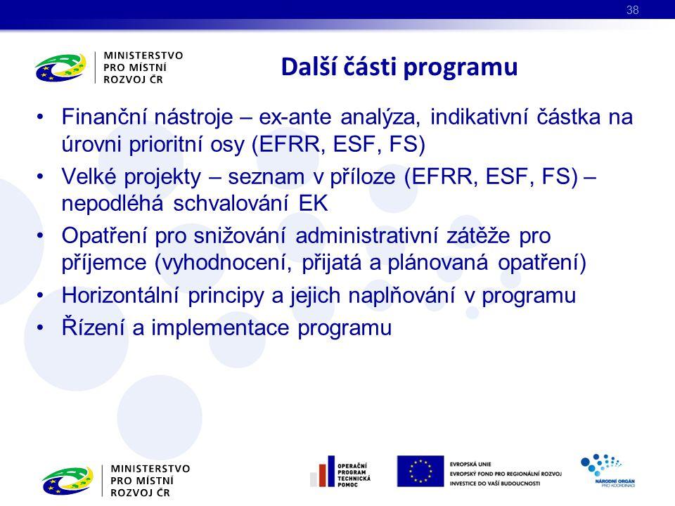 Finanční nástroje – ex-ante analýza, indikativní částka na úrovni prioritní osy (EFRR, ESF, FS) Velké projekty – seznam v příloze (EFRR, ESF, FS) – nepodléhá schvalování EK Opatření pro snižování administrativní zátěže pro příjemce (vyhodnocení, přijatá a plánovaná opatření) Horizontální principy a jejich naplňování v programu Řízení a implementace programu Další části programu 38