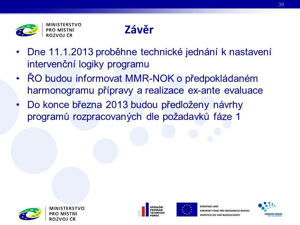 Dne 11.1.2013 proběhne technické jednání k nastavení intervenční logiky programu ŘO budou informovat MMR-NOK o předpokládaném harmonogramu přípravy a realizace ex-ante evaluace Do konce března 2013 budou předloženy návrhy programů rozpracovaných dle požadavků fáze 1 Závěr 39