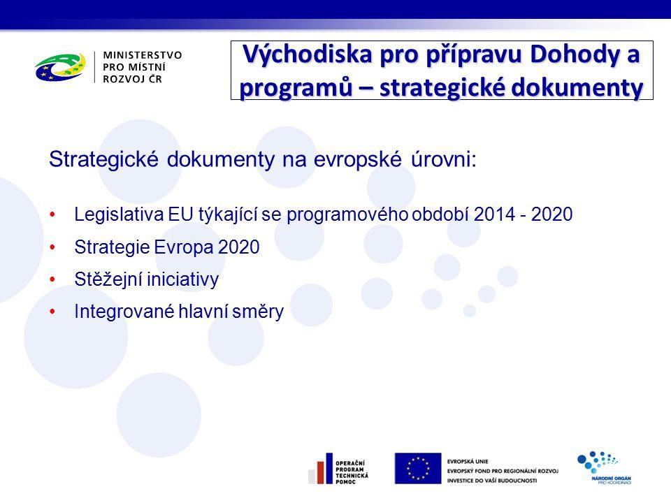 Strategické dokumenty na evropské úrovni: Legislativa EU týkající se programového období 2014 - 2020 Strategie Evropa 2020 Stěžejní iniciativy Integrované hlavní směry Východiska pro přípravu Dohody a programů – strategické dokumenty