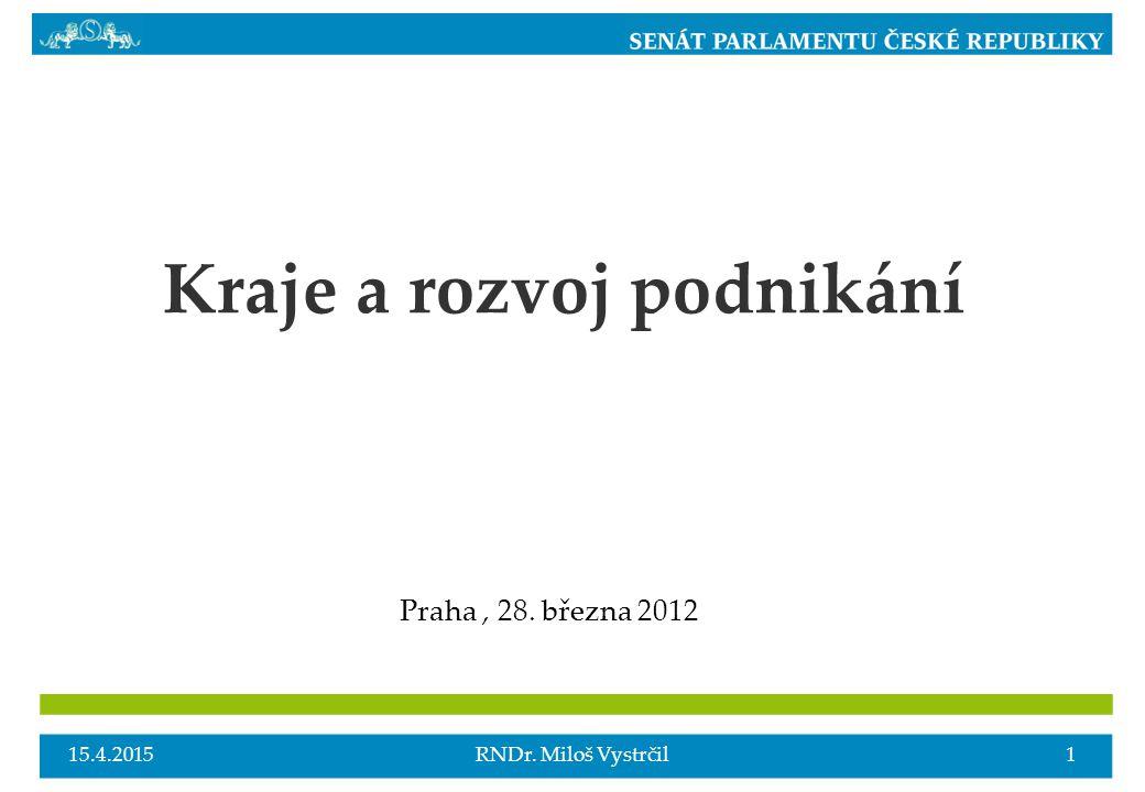 Kraje a rozvoj podnikání Praha, 28. března 2012 15.4.20151RNDr. Miloš Vystrčil