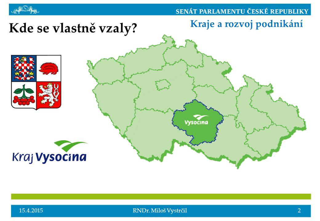 15.4.20152RNDr. Miloš Vystrčil Kraje a rozvoj podnikání Kde se vlastně vzaly?