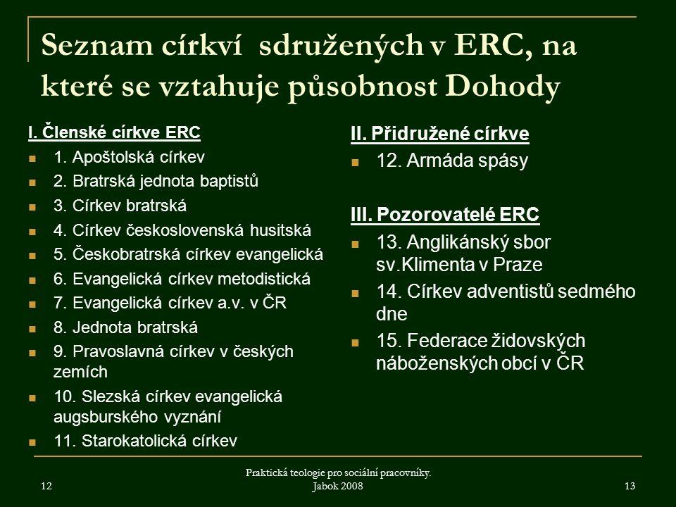 Seznam církví sdružených v ERC, na které se vztahuje působnost Dohody I. Členské církve ERC 1. Apoštolská církev 2. Bratrská jednota baptistů 3. Círke