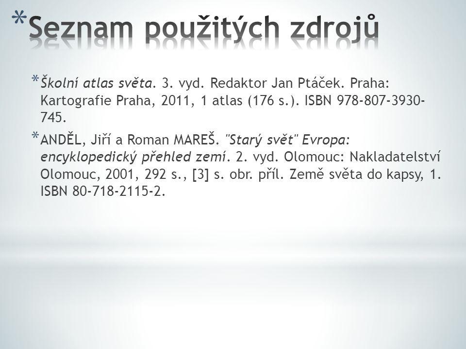 * Školní atlas světa. 3. vyd. Redaktor Jan Ptáček. Praha: Kartografie Praha, 2011, 1 atlas (176 s.). ISBN 978-807-3930- 745. * ANDĚL, Jiří a Roman MAR