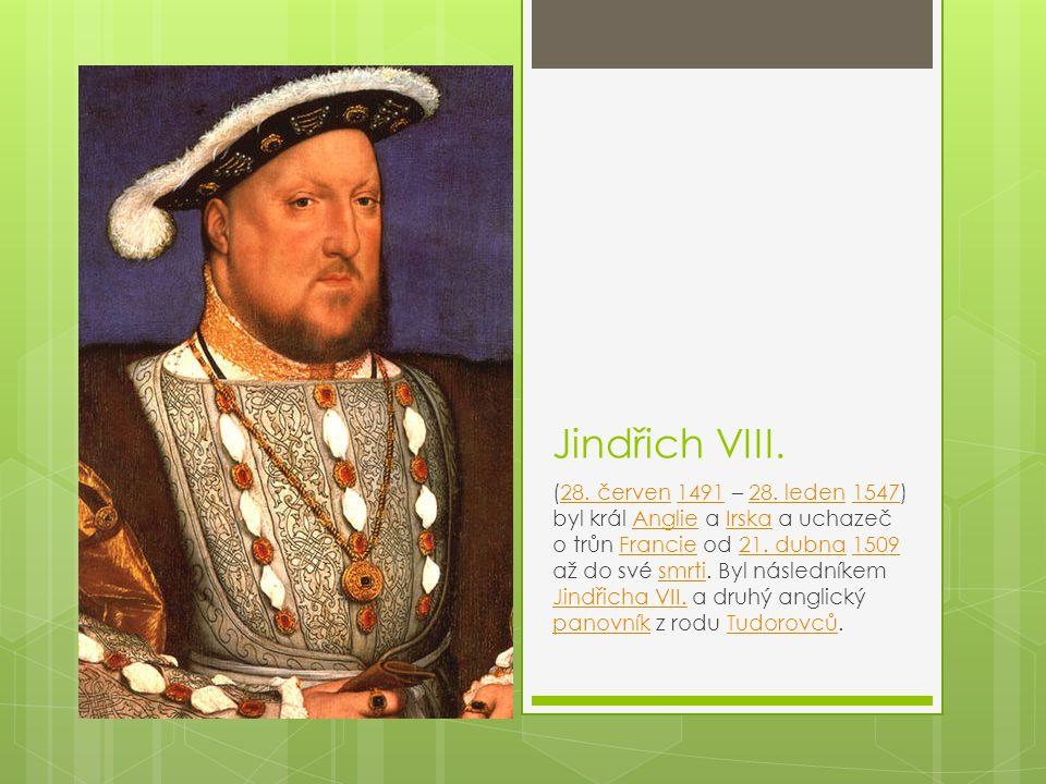 Jindřich VIII. (28. červen 1491 – 28. leden 1547) byl král Anglie a Irska a uchazeč o trůn Francie od 21. dubna 1509 až do své smrti. Byl následníkem