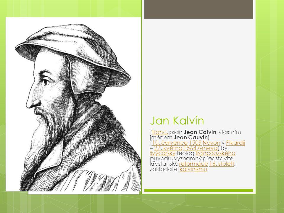 Jan Kalvín (franc. psán Jean Calvin, vlastním jménem Jean Cauvin ) (10. července 1509 Noyon v Pikardii – 27. května 1564 Ženeva) byl švýcarský teolog