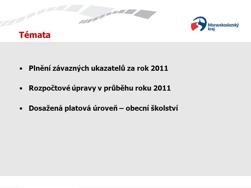 Témata Plnění závazných ukazatelů za rok 2011 Rozpočtové úpravy v průběhu roku 2011 Dosažená platová úroveň – obecní školství