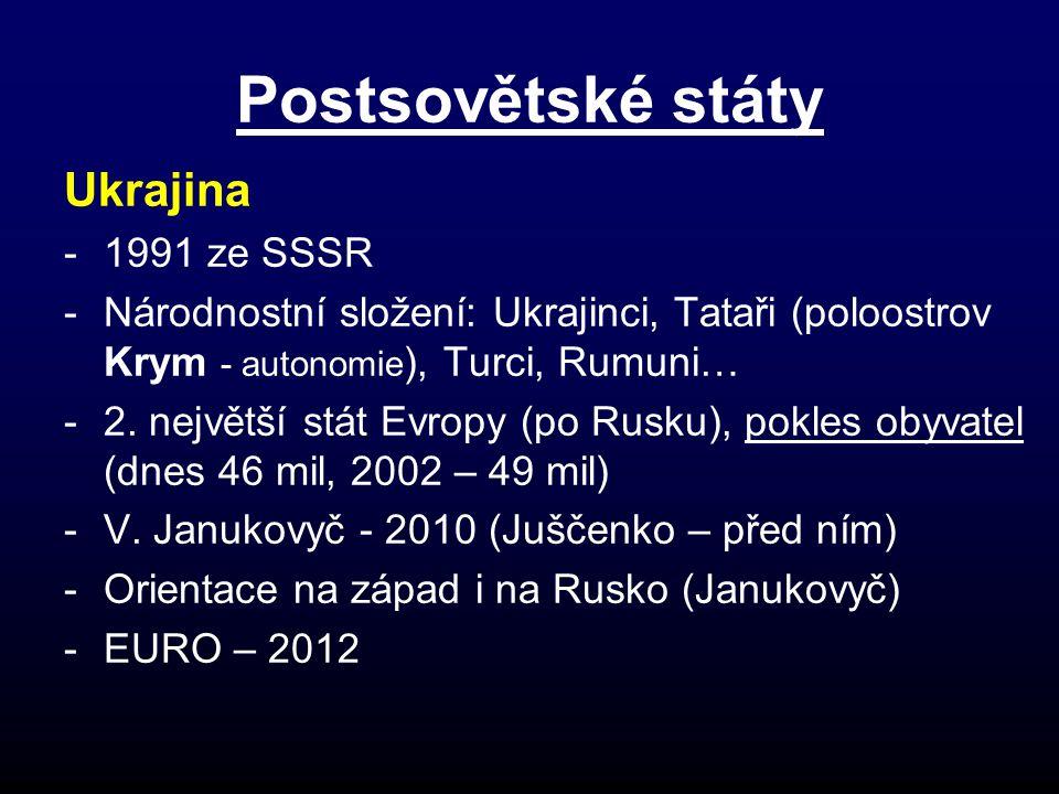 Postsovětské státy Ukrajina -1991 ze SSSR -Národnostní složení: Ukrajinci, Tataři (poloostrov Krym - autonomie ), Turci, Rumuni… -2.
