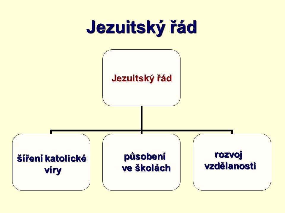 Jezuitský řád šíření katolické víry víry působení ve školách ve školách rozvojvzdělanosti