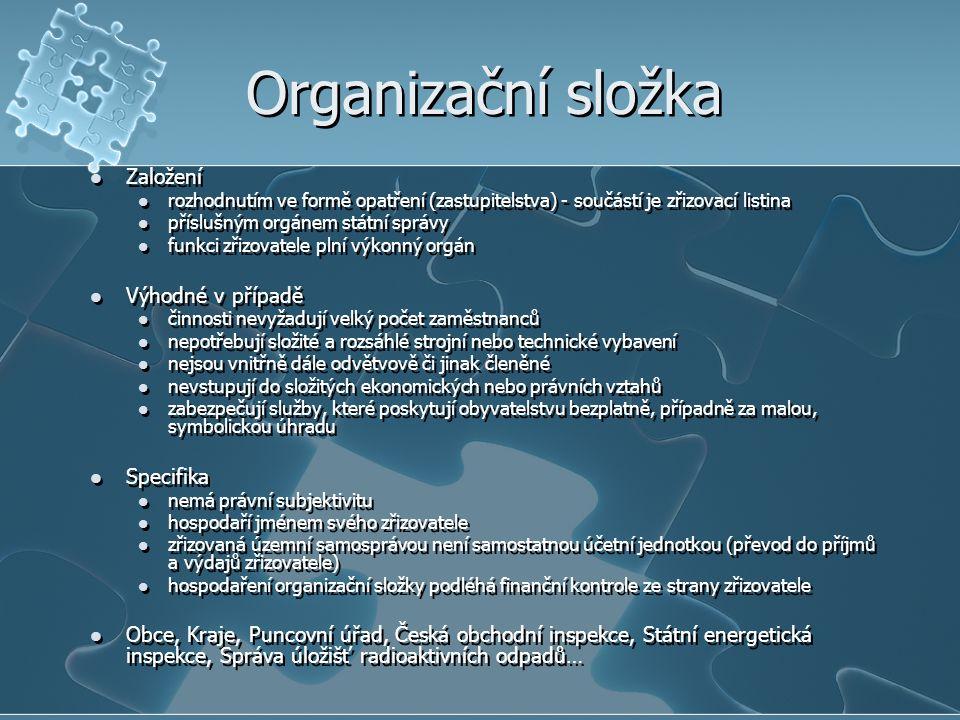 Příspěvkové organizace Založení rozhodnutím - součástí je zřizovací listina (v níž zřizovatel (stát, ÚSC) určí i rozsah převodu práv a závazků na nové či přejímající organizace) příslušného orgánu státní správy rozhodnutím voleného orgánu územní samosprávy (zastupitelstva) funkci zřizovatele plní výkonný orgán Vhodné v případě veřejné statky poskytované uživatelům za uživatelský poplatek – o výši rozhoduje vždy zřizovatel Specifika má samostatnou právní subjektivitu zřizovatel podává návrh na zápis do obchodního rejstříku hospodaří podle svého rozpočtu (často vyšší výdaje než příjmy, dostávají finanční prostředky z rozpočtu zřizovatele) nemůže nakupovat akcie či jiné cenné papíry nemůže poskytovat dary jiným subjektům s výjimkou peněžitých a věcných darů poskytovaných v souladu s předpisy o použití fondu kulturních a sociálních potřeb Muzea, galerie, knihovny, památníky, diagnostické ústavy, nemocnice, lázně, léčebny, záchranné služby, akademie věd, veterinární ústavy… Založení rozhodnutím - součástí je zřizovací listina (v níž zřizovatel (stát, ÚSC) určí i rozsah převodu práv a závazků na nové či přejímající organizace) příslušného orgánu státní správy rozhodnutím voleného orgánu územní samosprávy (zastupitelstva) funkci zřizovatele plní výkonný orgán Vhodné v případě veřejné statky poskytované uživatelům za uživatelský poplatek – o výši rozhoduje vždy zřizovatel Specifika má samostatnou právní subjektivitu zřizovatel podává návrh na zápis do obchodního rejstříku hospodaří podle svého rozpočtu (často vyšší výdaje než příjmy, dostávají finanční prostředky z rozpočtu zřizovatele) nemůže nakupovat akcie či jiné cenné papíry nemůže poskytovat dary jiným subjektům s výjimkou peněžitých a věcných darů poskytovaných v souladu s předpisy o použití fondu kulturních a sociálních potřeb Muzea, galerie, knihovny, památníky, diagnostické ústavy, nemocnice, lázně, léčebny, záchranné služby, akademie věd, veterinární ústavy…