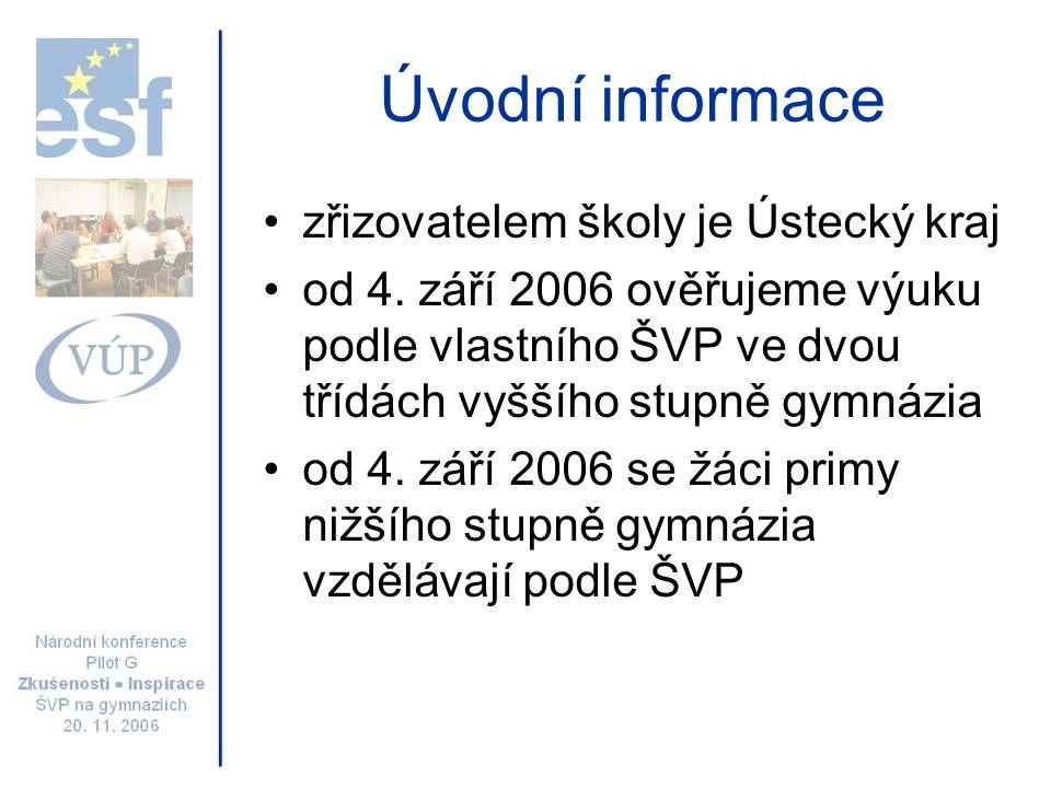 Úvodní informace zřizovatelem školy je Ústecký kraj od 4. září 2006 ověřujeme výuku podle vlastního ŠVP ve dvou třídách vyššího stupně gymnázia od 4.