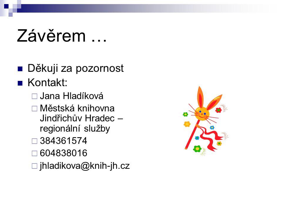 Závěrem … Děkuji za pozornost Kontakt:  Jana Hladíková  Městská knihovna Jindřichův Hradec – regionální služby  384361574  604838016  jhladikova@