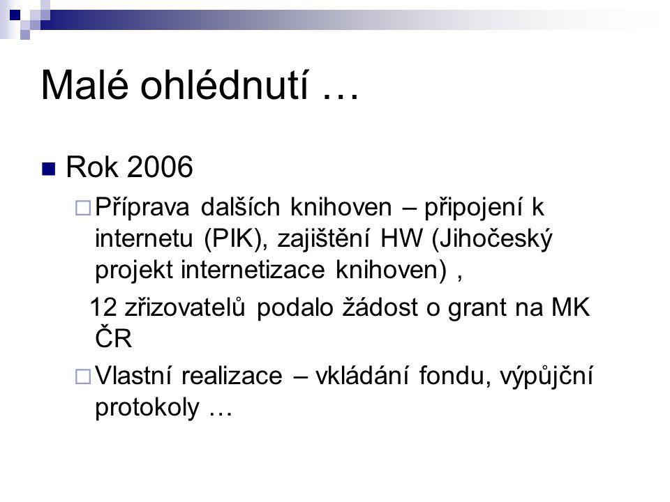 Malé ohlédnutí … Rok 2006  Příprava dalších knihoven – připojení k internetu (PIK), zajištění HW (Jihočeský projekt internetizace knihoven), 12 zřizo