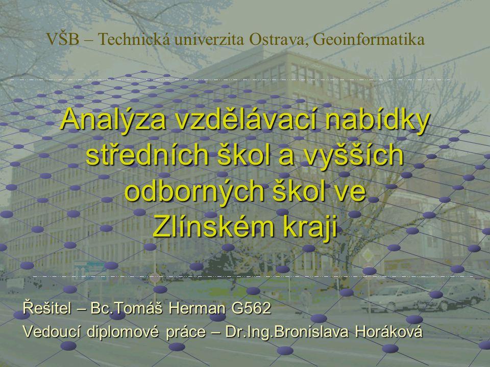 Analýza vzdělávací nabídky středních škol a vyšších odborných škol ve Zlínském kraji Řešitel – Bc.Tomáš Herman G562 Vedoucí diplomové práce – Dr.Ing.B