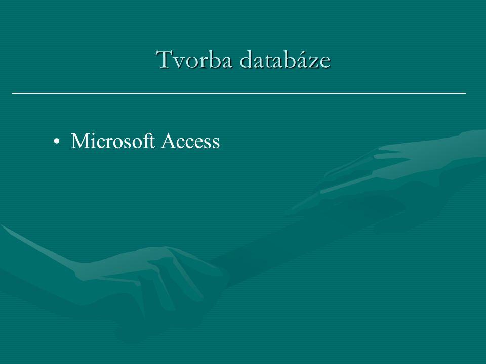 Tvorba databáze Microsoft Access
