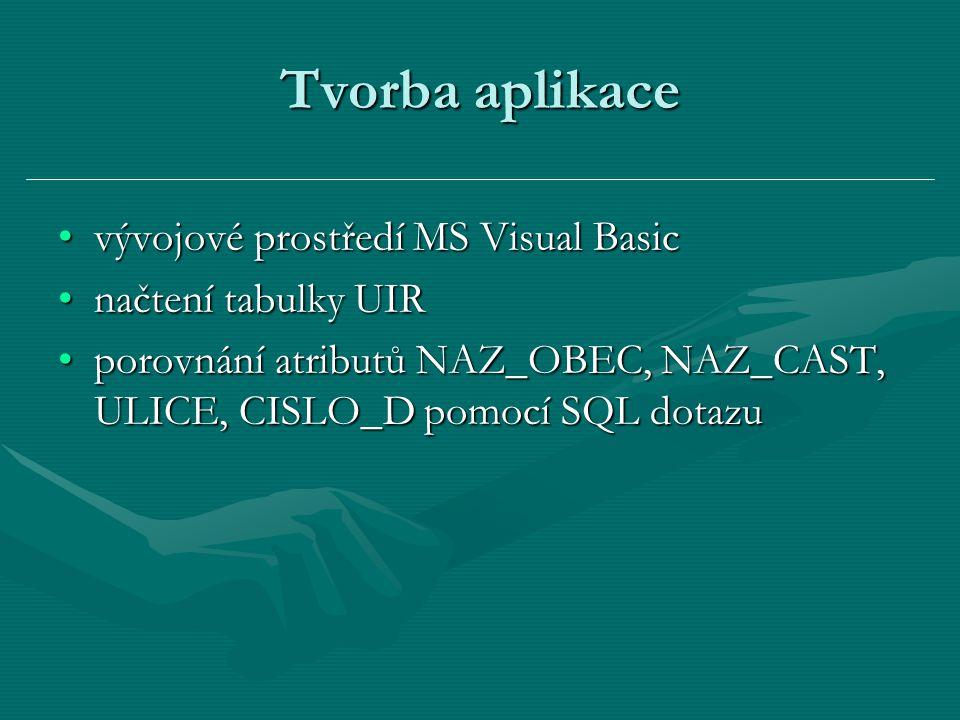 Tvorba aplikace vývojové prostředí MS Visual Basicvývojové prostředí MS Visual Basic načtení tabulky UIRnačtení tabulky UIR porovnání atributů NAZ_OBE
