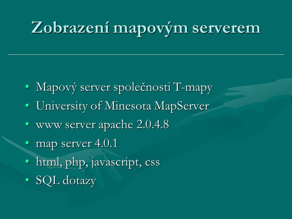 Zobrazení mapovým serverem Mapový server společnosti T-mapyMapový server společnosti T-mapy University of Minesota MapServerUniversity of Minesota MapServer www server apache 2.0.4.8www server apache 2.0.4.8 map server 4.0.1map server 4.0.1 html, php, javascript, csshtml, php, javascript, css SQL dotazySQL dotazy