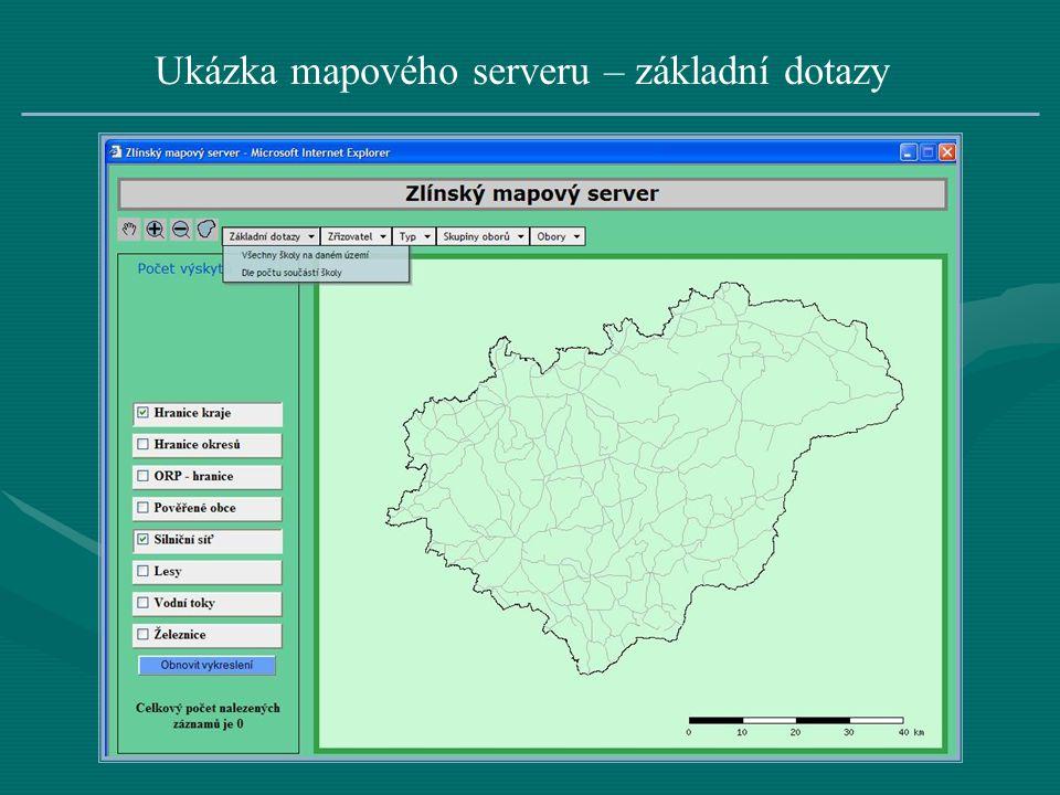 Ukázka mapového serveru – základní dotazy