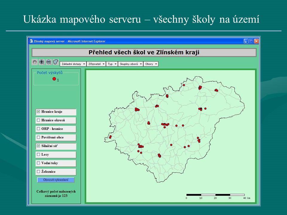 Ukázka mapového serveru – všechny školy na území