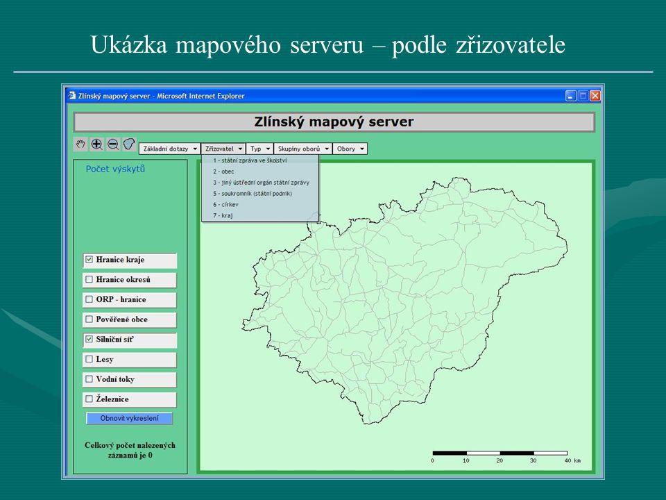 Ukázka mapového serveru – podle zřizovatele