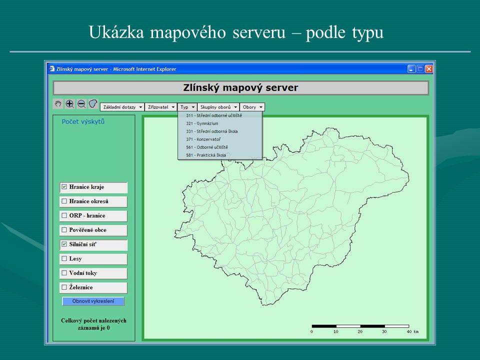 Ukázka mapového serveru – podle typu