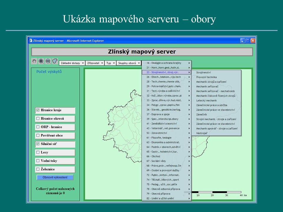 Ukázka mapového serveru – obory