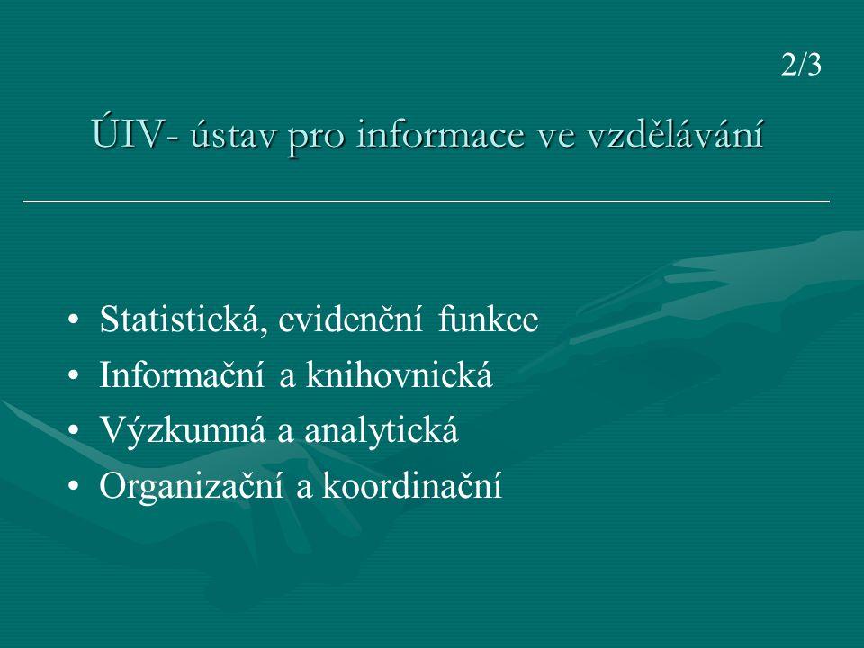 ÚIV- ústav pro informace ve vzdělávání Statistická, evidenční funkce Informační a knihovnická Výzkumná a analytická Organizační a koordinační 2/3