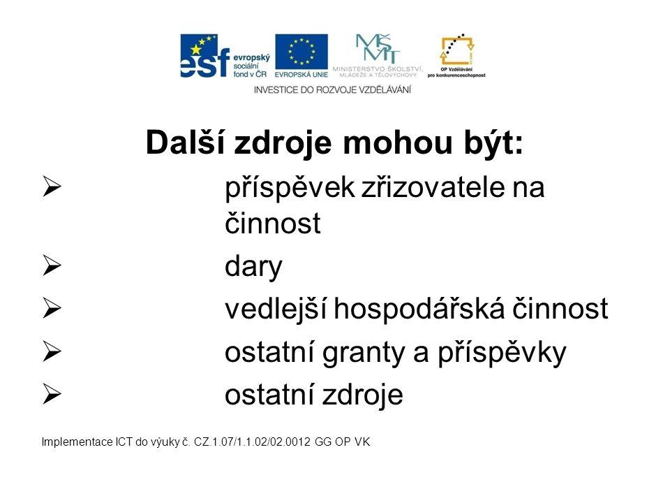 Další zdroje mohou být:  příspěvek zřizovatele na činnost  dary  vedlejší hospodářská činnost  ostatní granty a příspěvky  ostatní zdroje Implementace ICT do výuky č.