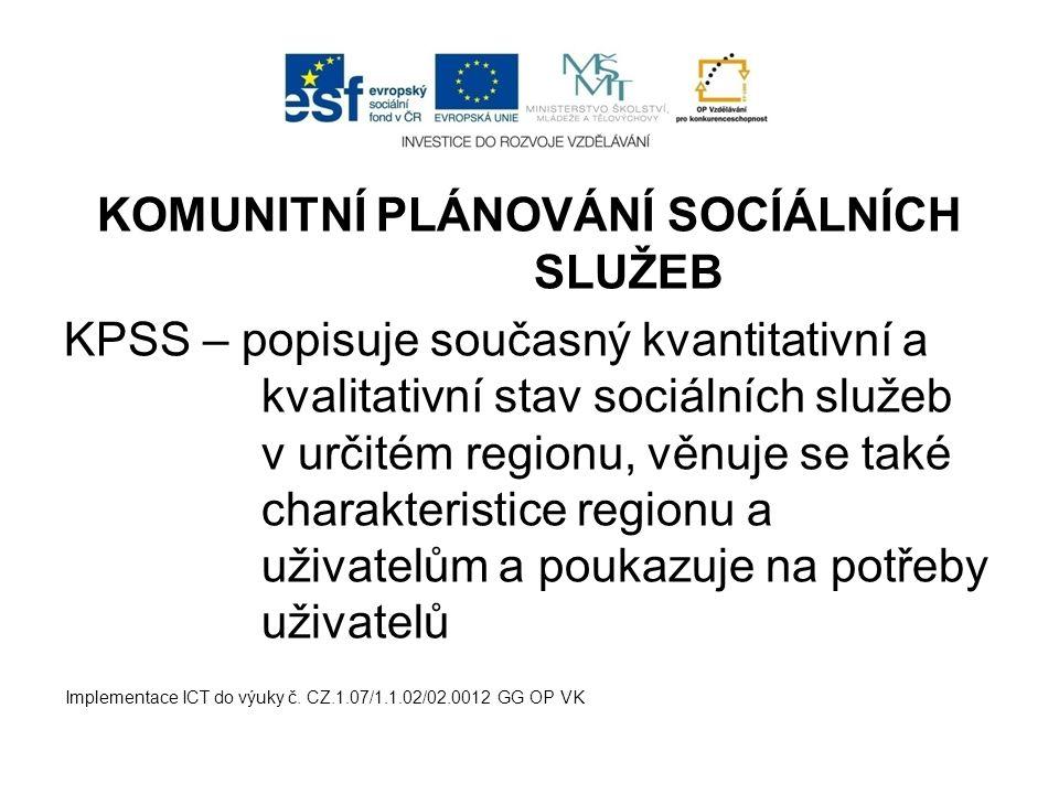KOMUNITNÍ PLÁNOVÁNÍ SOCÍÁLNÍCH SLUŽEB KPSS – popisuje současný kvantitativní a kvalitativní stav sociálních služeb v určitém regionu, věnuje se také c