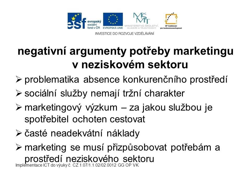 negativní argumenty potřeby marketingu v neziskovém sektoru  problematika absence konkurenčního prostředí  sociální služby nemají tržní charakter 