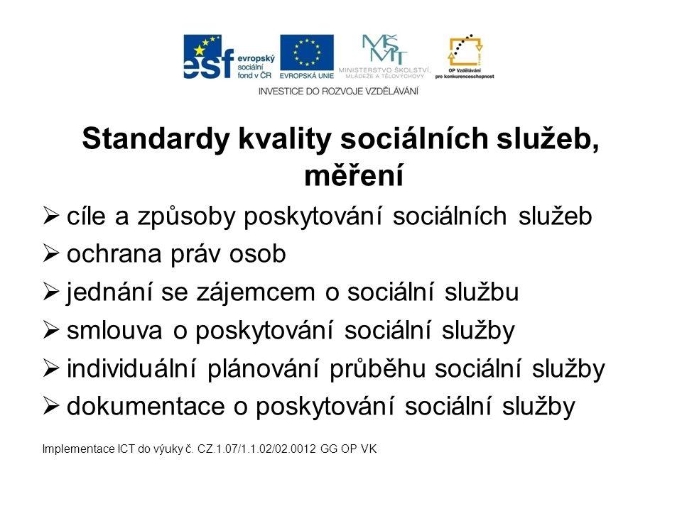 Standardy kvality sociálních služeb, měření  cíle a způsoby poskytování sociálních služeb  ochrana práv osob  jednání se zájemcem o sociální službu