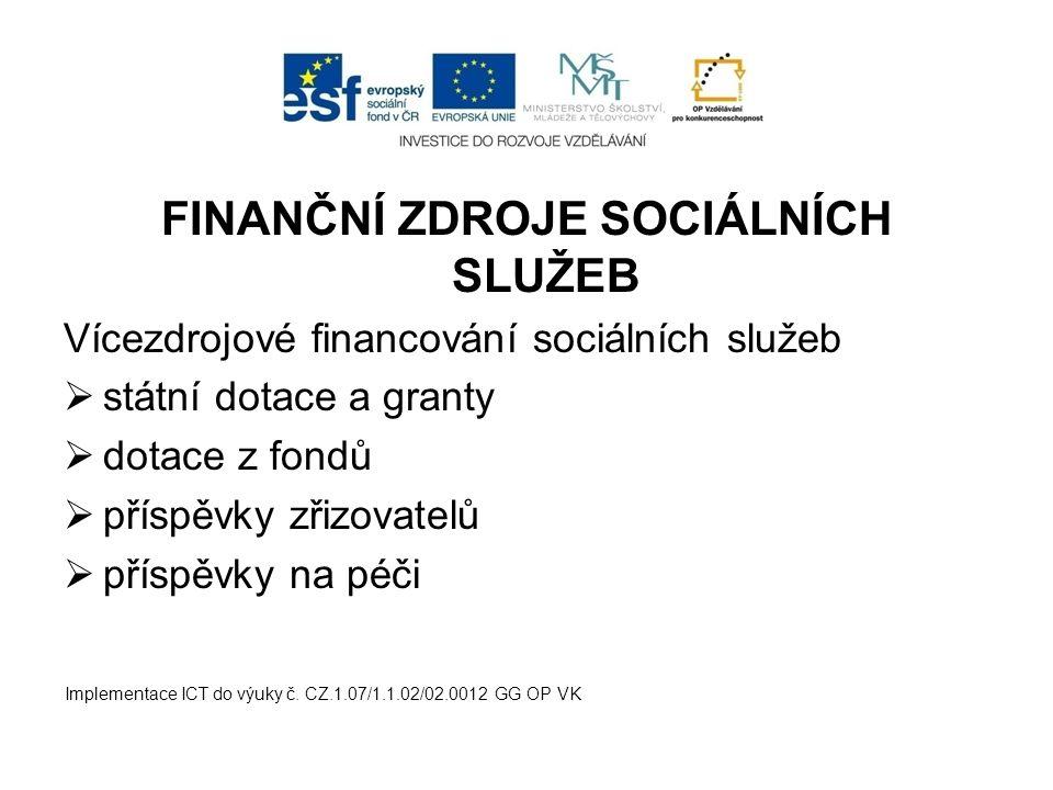 FINANČNÍ ZDROJE SOCIÁLNÍCH SLUŽEB Vícezdrojové financování sociálních služeb  státní dotace a granty  dotace z fondů  příspěvky zřizovatelů  příspěvky na péči Implementace ICT do výuky č.