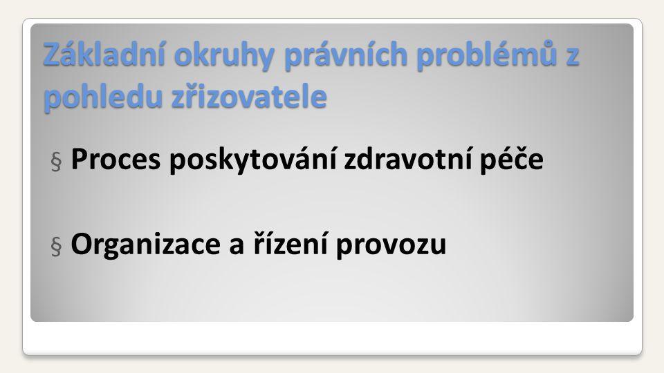 Základní okruhy právních problémů z pohledu zřizovatele § Proces poskytování zdravotní péče § Organizace a řízení provozu